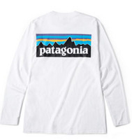 dağ tişörtleri toptan satış-Erkek Moda Marka Tees PATAGONYA Uzun Kollu Ekip Boyun T-Shirt Hommes Tops Kadınlar Casual Gevşek Tees Dağ Severler Tepe Baskı Beyaz Tshirt