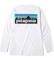 camisas blancas para mujer al por mayor-Marca de moda para hombre Camisetas PATAGONIA Camisetas de manga larga con cuello redondo Hommes Tops Mujeres Casual Camisetas sueltas Amantes de las montañas Pico Estampado blanco Camiseta