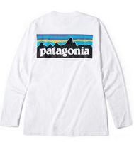 homens longos da camisa de t venda por atacado-PATAGÔNIA manga longa gola T-shirt Mens Fashion Marca Tees Hommes Tops Mulheres Casual soltos Tees Montanha amantes cópia branca Camiseta