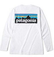 ingrosso t-shirt bianche lunghe da uomo-PATAGONIA manica lunga girocollo T-shirt Moda Uomo Marca Tees Hommes Tops casuale delle donne allentate Tees Montagna Lovers stampa bianca maglietta