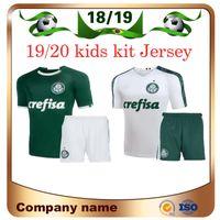 camisetas de fútbol para niños verde al por mayor-2019 Palmeiras Kids Kit Soccer Jersey 19/20 Home green # 10 MOISES # 9 BORJA Camiseta de fútbol Niño blanco # 7 uniformes de fútbol DUDU