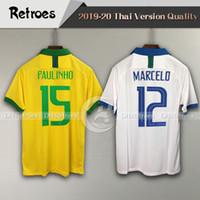 Wholesale brazil away jerseys for sale - Group buy 2019 Brazil Home soccer jerseys men G Jesus Firmino Marcelo VINICIUS JR away football shirt camisa Football Shirt