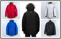 casaco de pele de homem venda por atacado-2008 Inverno de Down parkas com capuz Canadá Bomber Lobo pele Casacos Zippers Designer Jacket Men Chilliwackbomber Quente Brasão Outdoor Parka verde