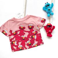 camisas de bebé patrones de animales al por mayor-Camiseta de los niños niñas patrón de sésamo impreso casual tops niños de dibujos animados animado manga corta camisetas de algodón ropa de niña de verano F7014