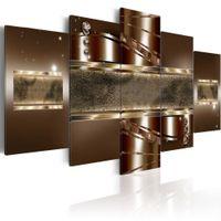 kahverengi tuval resmi toptan satış-Ekstra Büyük Kahverengi Mirage Tuval Sanat Baskılar Çağdaş Ayna Duvar Dekor 5 Parça Boyama Modern Ev Ofis Dekorasyon Çerçevesiz