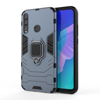 Wholesale y7 plus huawei online – custom Hybrid Rugged Armor Case for Huawei Y7 Plus Case Kickstand with Metal Finger Ring Shockproof Cover with Car Phone Finger Holder