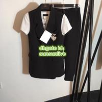 yapay elmas broş mini toptan satış-Kadınlar Marka Rhinestone Broş Ile Suits Blazer High-End Özel Yelek Kolsuz Ceket Ile Broş Blazer + Tee + Pantolon Pantolon Suit Set