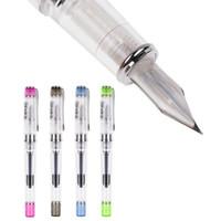 ingrosso penna stilografica finanziaria-1pc trasparente Stilografiche Sede didattica calligrafia speciale Practice inchiostro Gold Pen Boligrafos De Marca Lujo Penna stilografica inchiostro