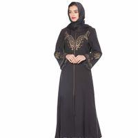 исламские платья хиджаб оптовых-Muslim Dress Women Elegant Gold Stamping Printing MyBatua Abaya with Hijab Jilbab Islamic Clothing Maxi Muslim Dress Burqa Z411