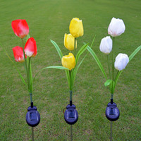 Wholesale yellow tulips decoration resale online - Waterproof Solar Powered Lamp Lawn Light Tulip Flower Red Yellow White Outdoor Landscape Decoration for Pathway Yard