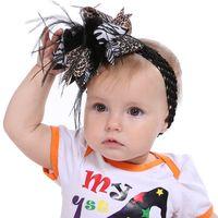ingrosso piuma di festival-201909 Bambini Halloween Bow Piuma Fascia per capelli Fascia per capelli Doppio uso Fiocco fatto a mano Barrette di piume Festival Neonate Copricapo Gioielli M544A