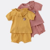 Wholesale style flower toy for sale - Group buy 0 T Kids Girls pieces Organic Cotton Ruffled Round Collar Solid Yellow Pink Pants Baby Suits Outfits With Star Toy Decoration Lovely Girls