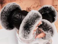 ingrosso guanto di pelle di agnello-Guanti da donna in pelle Luxury Luxury marchio di moda Peluche coniglio morbido caldo guanti in pelle lambskin touch screen guanti da sposa da sposa