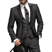 свадебное платье оптовых-Charcoal Italian Groom Tuxedo Wedding Suit for Men Jacket+Pants+Vest Wedding Tuxedo Business Formal Groomsmen Suit