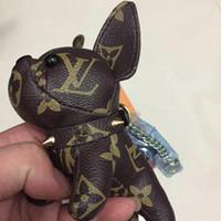 porte-clés de voiture solaire achat en gros de-Haute qualité en cuir porte-clés ornement créatif bulldog français porte-clés mode sac à main accessoires