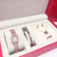 ingrosso bracciale in orologio al quarzo-5 set di orologi da donna di diamanti di lusso in oro rosa orologio da polso bracciale anello orecchino collana gioielli al quarzo festa di moda orologi casual