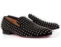 kırmızı gelinlik erkek toptan satış-2019 Yeni Moda Tasarımcısı Marka Siyah Glitter Spike Kırmızı Alt Loafer'lar Ayakkabı Erkekler Flats Düğün Parti Erkek Beyler Elbise Oxford Ayakkabı