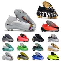 Wholesale high ankle boys shoes resale online - Cheap Mercurial Superfly VI Elite FG KJ XII CR7 Ronaldo Neymar Mens Women Boys High ankle Soccer Shoes Football Boots Cleats US3
