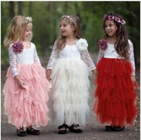 Wholesale white embroidered dresses for party resale online - Girl Ceremonies Dress Baby Children s Clothing Tutu Kids Dresses for Girls Clothes Wedding Party Gown Vestidos Robe Fille