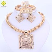 grandes conjuntos de jóias traje de ouro venda por atacado-Conjuntos de jóias de moda Big Praça Pingente de Colar Brincos Pulseira Anel Dubai Cor de Ouro Conjuntos de Jóias de Traje Africano Para As Mulheres