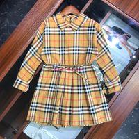 neue kleider mädchen revers großhandel-Herbst Mode neue Mädchen Kleid Kinder Designer Kleidung Plaid Revers Taille Design Kleid Baumwolle Material Klassiker