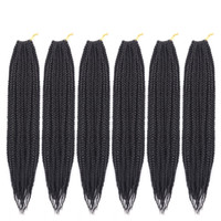 boxen für haarverlängerungen großhandel-Box Braid Crochet Hair Ombre Schwarz Grau Synthetic Braiding Hair Extensions Afrikanische Zöpfe Mambo Twist Crochet Hair
