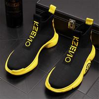 calçados masculinos do tornozelo da forma venda por atacado-Tendência da moda Meias Masculinas Botas Sapatos de Alta Top Deslizamento Em Homens Respirável Verão Sapatos Casuais Ankle Boots de Sola de Espessura 38D50