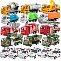 sıcak kamyonlar toptan satış-Sıcak Arabalar Model Oyuncaklar Yeşil Araba, Polis Arabası Mikser, Itfaiye aracı, Çimento Kamyonu, Eğitici Oyuncak Araba ABS Kabuk Simülasyon Modeli