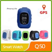 gsm gsm çocuk yer belirleme toptan satış-SıCAK Q50 Akıllı İzle Çocuklar Çocuk Kol GSM GPRS GPS Bulucu Izci Anti-Kayıp Smartwatch Çocuk Guard iOS Android için