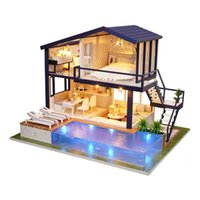 Wholesale 3d love dolls online - Dollhouse Apartment Doll DIY D Wooden Mini House Furniture Educational Toys Furniture For children Love Gift New Kid Swimming