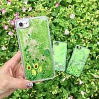 Wholesale watermelon iphone case for sale – best Liquid Case For Iphone Pro Max XS MAX XR X Plus Sparkle Green Quicksands Flowing Avocado Watermelon Cactus Pattern Glitter Cover