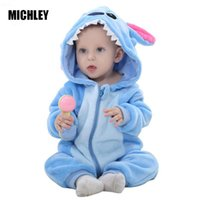 Wholesale baby rabbit clothing resale online - Infant Boys Girls Jumpsuit New Born Bebe Clothing Hooded Toddler Clothes Cute Rabbit Romper Baby Costumes Q190520