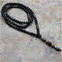 mala perlen halsketten großhandel-Natürlich Schwarz Hämatit Schnitzen Perlenkette Schwarz Buddha Lava Mala Stein Holz Rosenkranz Anhänger