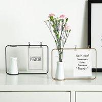 demir kelepçeler toptan satış-Yaratıcı Sevimli Minimalist Demir Hattı Çiçek Bitki Vazo Kartpostal Klip Tutucu Düğün Coffee Shop Dekor Şık Standı