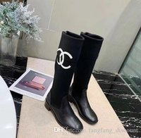 Wholesale females long boots for sale - Group buy Autumn winter new round toe low heel all match patchwork boots knight boots female patent leather women long boots