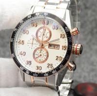 наручные часы для браслетов оптовых-Наружный 43MM Кварцевый день Дата Хорошие мужские часы Часы Белый циферблат с двухцветным браслетом из нержавеющей стали и золотыми стрелками и маркерами