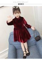 Wholesale kids princess velvet clothes resale online - 2019 New Girl Baby Gold Velvet Spring Autumn Lace Princess Dress Girls Kids Children Clothes Vestido Red Black T