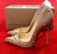 Wholesale free nude photos online - fashion women pumps Black Nude kid leather spikes point toe high heels sandals shoes boots genuine leather real photo