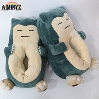 ingrosso adulto cartoon femminile-Home Pantofole Donna Cartoon Pet Elf Bestia Scarpe Snorlax Donna Cute Animal Chausson Adult Funny Fur Indoor Cotton Men