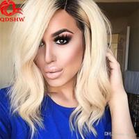 кружевные бразильские парики оптовых-Платиновый блондин парик человеческих волос с отбеленными узлами Glueless волнистые короткие девственница бразильский блондин волосы полный парик шнурка для белых женщин
