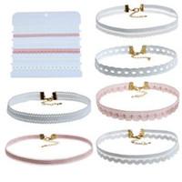 conjuntos de collar de moda para las mujeres al por mayor-6 Unids / set Mujeres Collar de Encaje Gargantilla Collar de Moda Collar Clásico Colgante Dama Vestido Accesorios LLA107
