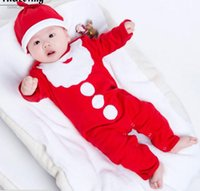 Wholesale months baby clothes set resale online - Baby Girs Christmas clothing sets Kids Long Sleeve Christmas Santa Claus print Romper hat Infant Month