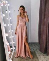frente de encaje de cristal al por mayor-Pink Long Ladies Vestidos de baile 2019 Correas espaguetis Satin Lace Appliques Crystal High Front Split Sweep Train Vestidos de noche