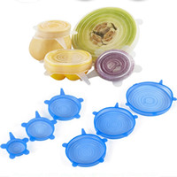 Silicone Stretch Lids Vacuum Seal Suction Cover Sealer Bowl Pot Silicone Caps Cover Kitchen Cookware Accessories White Blue 6pcs lot YW2830