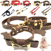 Wholesale cat flowers resale online - Luxury Bow Pets Collars Leashes Sets Fshion Leather Old Flower Peinted Cats Dogs Collar Adjustable Size Teddy Schnauzer Outdoor Pet Supplies