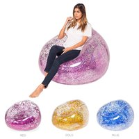Wholesale lazy toys online - 3 Colors cm Inflatable Sofa Colorful Glitters Air Mattress Beach Lounger Lazy Sleeping Bag Adult Children Pool Toys Air Sofa MMA1875