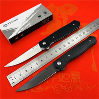 Wholesale cf steel for sale - Group buy TIGEND Flipper folding knife D2 blade CF G10 steel handle camping hunting outdoor survival pocket Kitchen knives edc tool