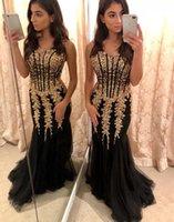 siyah süslenmiş elbiseler toptan satış-Seksi Siyah Tül Ve Altın Boncuk Süslemek Mermaid Pageant Gelinlik Modelleri Sevgiliye 2019 Bel Uzun See Through Ucuz Akşam Örgün Önlük