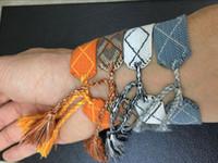 bracelets tissés achat en gros de-Célèbre Marque D + I et OU Artisanat Indien Américain Bracelets Tissés Amulette Broderie Lettre Bracelet Classique Bracelet Tissé à La Main