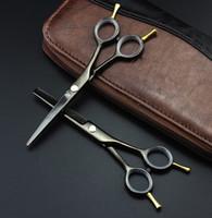 siyah saçlı japonya toptan satış-Profesyonel 5.5 inç İki kuyruklu makas siyah inceltme makaslar kesme berber saç makas seti makaslar kuaförlük makas